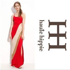 HAUTE HIPPIE Colorblock Maxi Dress w/ Side Slit XS